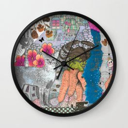 """lllustration """"Blue cat"""" Wall Clock"""