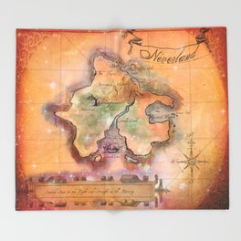 Never Land Map Throw Blanket