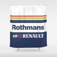senna Shower Curtains featuring Williams F1 Rothmans Ayrton Senna by Krakenspirit