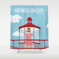 moonrise kingdom Shower Curtains featuring Moonrise Kingdom-2 by gokce inan