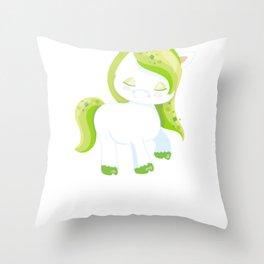 Kids St Patricks Day Irish Unicorn Throw Pillow