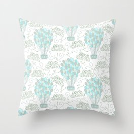 Vintage hot air balloons line drawing pastel turquoise blue Throw Pillow