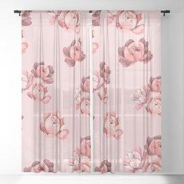Blush Peonies Watercolor Sheer Curtain