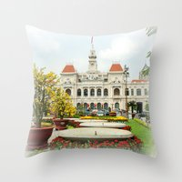 vietnam Throw Pillows featuring saigon-vietnam by nguyenkhacthanh