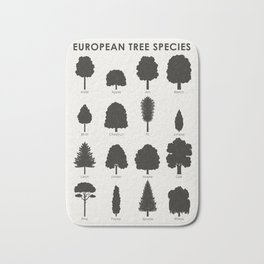 Infographic Guide for Tree Species by Shapes or Silhouette Bath Mat