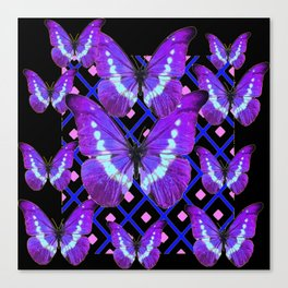 Purple Butterflies Migration on Black Pattern Art Canvas Print