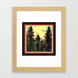 SUNNY DAY PINE TREES FOREST BROWN ART Framed Art Print