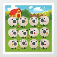 sheep Art Prints featuring Sheep by Elle Moz
