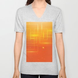 YELLOW SQUARES ON AN ORANGE BACKGROUND Abstract Art Unisex V-Neck