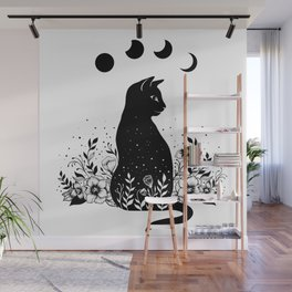 Night Garden Cat Wall Mural