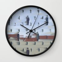 magritte Wall Clocks featuring Golconda - Rene Magritte by Max Harrison