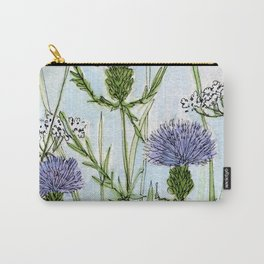 Thistle White Lace Watercolor Carry-All Pouch