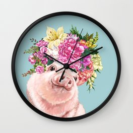 Flower Crown Baby Pig in Blue Wall Clock