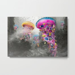 Electric Jellyfish in a Misty Mountain Metal Print