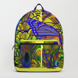 FANTASY PURPLE MONARCH BUTTERFLY PEACOCK FEATHER Backpack