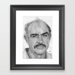 Sean Connery Traditional Portrait Print Framed Art Print
