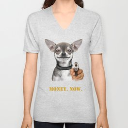 Dog With Gun Unisex V-Neck
