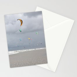 Colorfull kites at the beach with dark clouds, IJmuiden Netherlands Stationery Cards