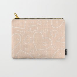 Peach - Apricot and White Hearts Carry-All Pouch