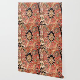 Arabesque Floral III // 17th Century Rich Red Colors Interlaced Blue Bands Dragons Lions Pattern Ru Wallpaper