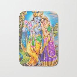 Radha Krishna Playing Flute Lakshmi Hindu Art Yoga Spiritual Bath Mat