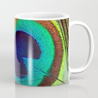 peacock feather Mugs featuring Peacock Feather by Kim Bajorek