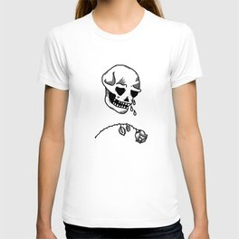 Sad Skull - Black on White T-shirt