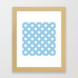 Light cornflower blue - heavenly - White Polka Dots - Pois Pattern Framed Art Print