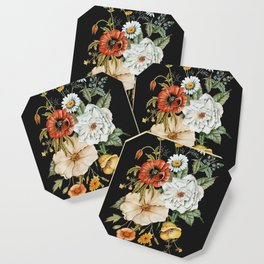 Wildflower Bouquet on Charcoal Coaster