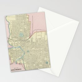Vintage Map of Columbus Ohio (1901) Stationery Cards