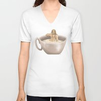 fili V-neck T-shirts featuring A Cup of Fili by AlyTheKitten