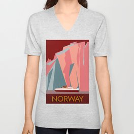 Norway fjords retro vintage style travel Unisex V-Neck