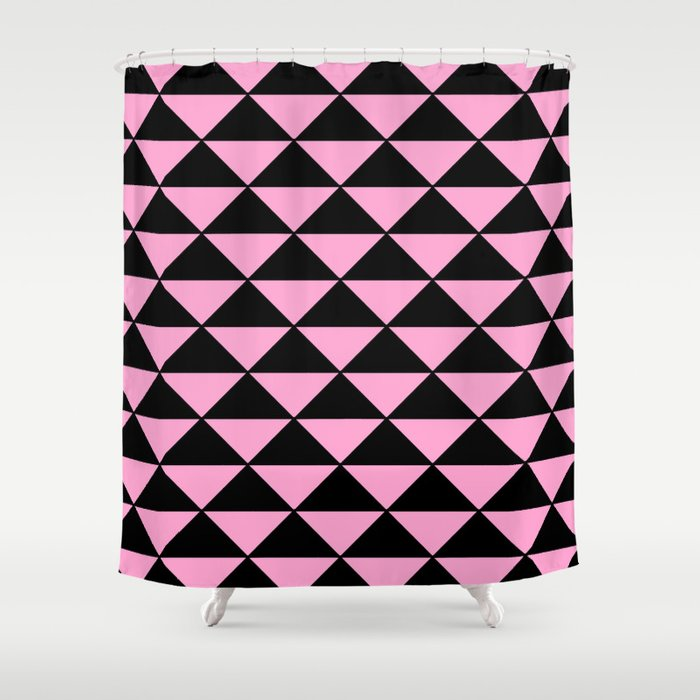 Graphic Geometric Pattern Minimal 2 Tone Infinity Triangles (Pastel Pink & Black) Shower Curtain
