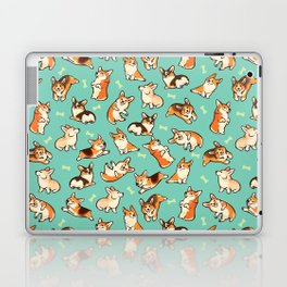 Jolly corgis in green Laptop & iPad Skin