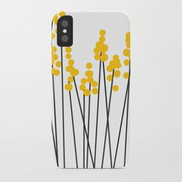 Hello Spring! Yellow/Black Retro Plants on White #decor #society6 #buyart iPhone Case