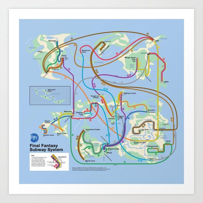 Nyc Fantasy Subway Map.Final Fantasy As Nyc Subway Art Print