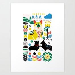 Scandinavian Corgi Art Print