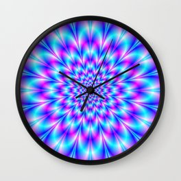 Neon Rosette in Blue and Pink Wall Clock