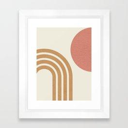 Mid century modern pink Sun & Rainbow Framed Art Print