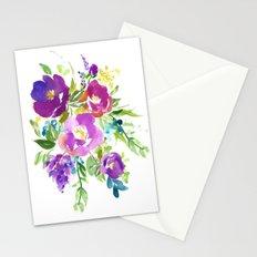 Purple Violet Watercolor Flower Bouquet Stationery Cards