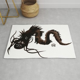 Head first black dragon ink painting Rug