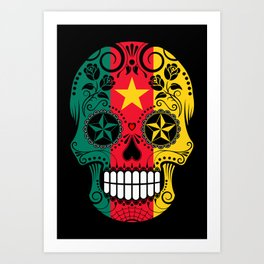 Sugar Skull with Roses and Flag of Cameroon Art Print