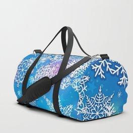 Snowflake background blue purple Duffle Bag