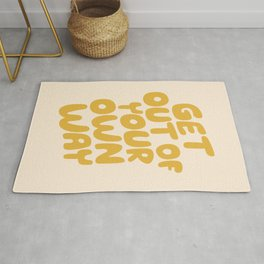 GET OUT OF YOUR OWN WAY motivational typography inspirational quote in vintage yellow Rug