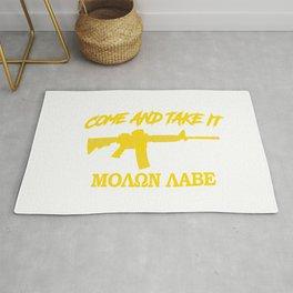 Come and Take It! Molon Labe! Gold in Greek. Rug