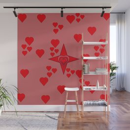 Red hearts Wall Mural