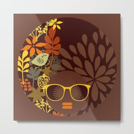 Afro Diva : Sophisticated Lady Retro Brown Metal Print