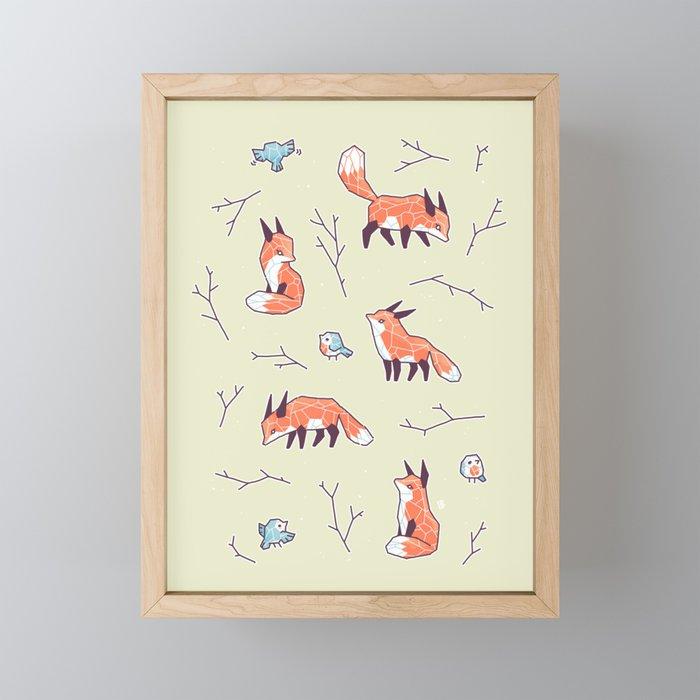 Fox and Bird Pattern Framed Mini Art Print