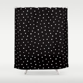 Minimal- Small white polka dots on black - Mix & Match with Simplicty of life Shower Curtain