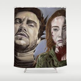 Abigail and Will 2., acrylic painting Shower Curtain